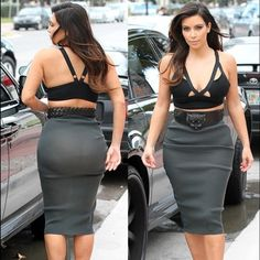 Gray pencil skirt marylin monroeXS *new with tags* Kim Kardashian Blazer, Estilo Kardashian, Kardashian Style, Black Leather Pencil Skirt, Grey Pencil Skirt, Men Wearing Dresses, Over 60 Fashion, Jolie Lingerie, Curvy Girl Outfits