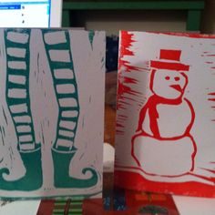 My Lino print Christmas cards. Diy Christmas Cards, Xmas Cards, Christmas Art, Christmas Projects, Advent, Stamp Carving, Linoprint, Christmas Drawing, Linocut Prints