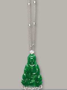 "Jadeite ""guanyin"" and diamond pendant necklace"