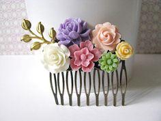 Flower Collage Hair Comb, Floral Hair Accessory, Lavender Purple, Coral Peach, Blush Pink, Orange, Peridot, Wedding Headpiece, Bridal Gift