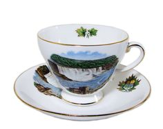 Royal Grafton Fine Bone China Cup and Saucer Niagara Falls Souvenir Canada by WhatnotGems on Etsy