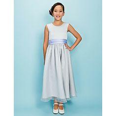 A-line Jewel Tea-length Organza Satin Junior Bridesmaid Dress  – USD $ 79.99