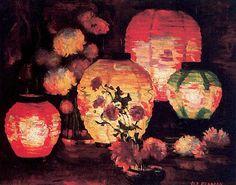 Japanese Lanterns Artwork By Marguerite Pearson Oil Painting & Art Prints On Canvas For Sale Chinoiserie, Art Asiatique, Art Japonais, Ouvrages D'art, Chinese Lanterns, Oil Painting Reproductions, Angel Art, Paper Lanterns, Nocturne