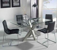 Mesa de comedor de comedor tapa de cristal | Mesas comedor
