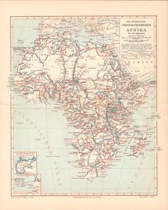 1897 Expeditions in Africa Antique Map.