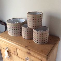 Drum lampshades in Abraham Moon multi spot 100% wool sizes 20 & 30 dia