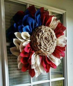 Wall Hangings - Wreaths - Patriotic Sunflower Wreath (Fourth Of July)Sunflower Wreath, Sunflower Wreath For Front Door, Yellow Burlap Sunflower Wreath, Fall Wreath, Sunflower Wreath For Front Door BurlapSunflower wreath burlap by JFPrettyLittleThings Patriotic Wreath, Patriotic Crafts, Patriotic Decorations, July Crafts, Summer Crafts, Americana Crafts, Burlap Crafts, Wreath Crafts, Diy Wreath