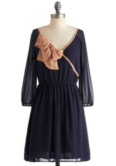 Would be super cute with long boots and tights in winter or flats in summer! {Tie to Be True Dress from Modcloth}