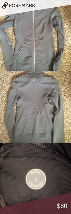 Lululemon jacket Charcoal gray jacket. Worn twice size 2 dot confirmed. EUC worn twice and is now too tight on my chest. Cheaper on Ⓜ️ or 🅿️🅿️. Cross posted. Smoke and pet free home.   Reasonable offers will be considered. lululemon athletica Jackets & Coats