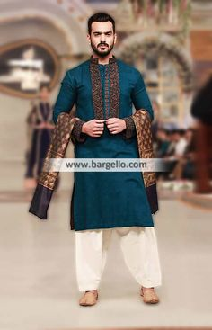K608 Embroidered Shalwar Kameez for Mens - UK USA Canada Australia Saudi Arabia Bahrain Kuwait Norway Sweden New Zealand Austria Switzerland Germany Denmark France Ireland Mauritius and Netherlands