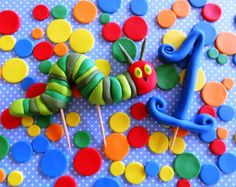 """3D Fondant edible cake toppers - """"Hungry Caterpillar"""" inspired theme"""