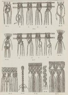 "Patterns of macrame. From the public domain book ""Complete guide to the work-table : containing instructions in Berlin work, crochet, drawn-thread work, embroidery, knitting, knotting or macrame, lace, netting, poonah painting, & tatting, with numerous illustrations and coloured designs (1884)."" by jane"