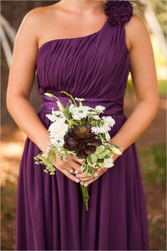 Grecian style dark purple bridesmaid dresses and corresponding bouquet. #bridesmaid #bouquet #weddingchicks Floral Design: The Gassaway Mansion