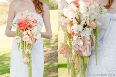 Dramatic Bouquet of hanging amaranth, coral  ranuculus, blush roses and peach tulips.