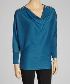Take a look at this Turquoise Stud Cowl Neck Top - Women by Costa Blanca on #zulily today!
