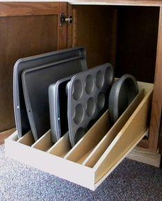 Pan Lid-Cooking Sheet Sliding Shelf-Slide Out Shelves LLC® Sliding cookie sheet/cupcake holder storage. Kitchen Drawers, Kitchen Redo, Kitchen Pantry, Kitchen Cabinets, Kitchen Ideas, Bathroom Cabinets, Smart Kitchen, Kitchen Tables, Diy Cupboards