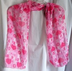 """Valentine Scarf Pink and Red and White 9"""" x 62"""" Polyester #Scarf #Scarf #Valentine"""