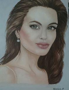 Oil Painting Portrait Angelina Jolie Stella Abek  ציור שמן פורטרט אנג'לינה ג'ולי  סטלה אבק
