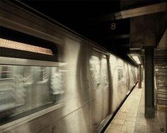 New York subway train NYC subway station photo by NancyFphotos, $25.00