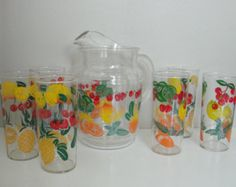 Set of 6 Rare Federal Fruit Cocktail Glasses on Clear Glass