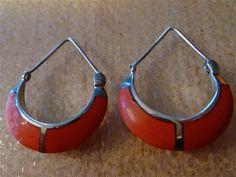 Vintage Sterling Silver Inlay Coral Hoop by VintagePoetlandia, $30.00