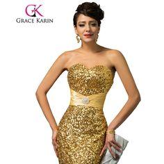 a482162b9926e5 Grace Karin Mermaid Evening Dress Red Gold Sequin Strapless Luxury Women  Abendkleider Long Formal Special Occasion Dress 2017
