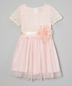 This Peach Flower Lace Dress - Toddler & Girls is perfect! #zulilyfinds