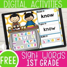 Perfect for distance learning- No printer needed 1st Grade Activities, Graphing Activities, Spelling Activities, Sight Word Activities, Classroom Activities, Sight Word Games Online, Classroom Ideas, Online Classroom, Work Activities