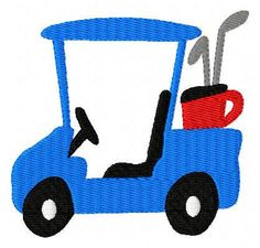 Golf Cart Machine Embroidery Design // by JoyfulStitchesEtsy