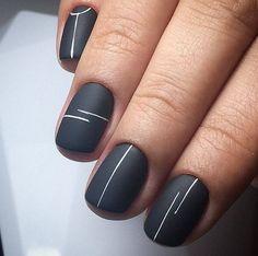 Lines create the perfect minimalist nail art on nails of any length., - Lines create the perfect minimalist nail art on nails of any length. Square Acrylic Nails, Matte Acrylic Nails, Nude Nails, Nail Art Hacks, Easy Nail Art, Cool Nail Art, Simple Elegant Nails, Simple Nails, Cute Nail Art Designs
