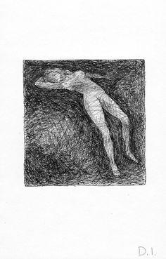 "David Ivie, dark nude 2009 ink on paper 5 5/8 x 3 3/4 """