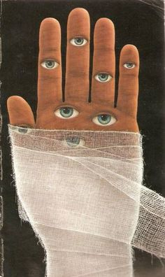 'Gauze Wrapped Hand, All Seeing Eyes', by DON BRAUTIGAM, Collage Art.