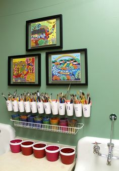 """art room"" sink - Google Search. Replace pictures with directions for washing brushes, etc."