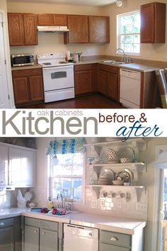 Painting Oak Cabinets White and Gray #oak_cabinets #white_cabinets #kitchen_cabinets