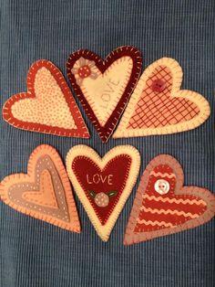 hand stitched wool felt hearts