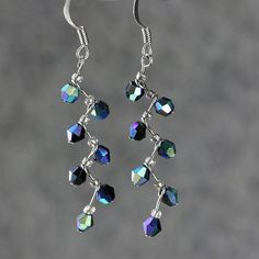 Iridenscent crystal glass zigzag dangle earrings by AnniDesignsllc, $12.95
