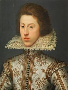 Bonhams : William Larkin (London circa Portrait of Thomas Pope, later Earl of Downe, bust-length, in a white tunic embroidered with gold and a yellow lace collar Renaissance Portraits, Renaissance Men, Renaissance Costume, Paper Lace, Lace Fabric, Yellow Lace, Irish Lace, Historical Costume, Historical Art