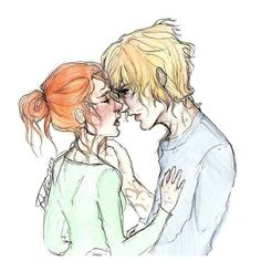 Clary and Jace Kiss ❤ liked on Polyvore