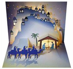 Forever Handmade Cards Pop Ups - Christmas Nativity - Laser Pop Up Card Pop Up Christmas Cards, Christmas Pops, Christmas Nativity, Simple Christmas, Christmas Crafts, Christmas Decorations, Christmas Carol, Christmas Program, Christmas Lights