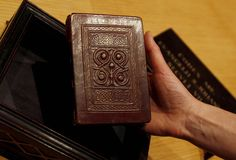 Another picture of the 7th century St. Cuthbert gospel.  Europe's oldest intact book.