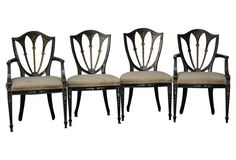 Shield Back Painted Chairs, S/4