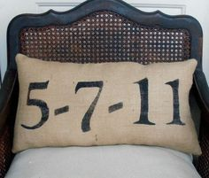 Anniversary Pilow or address numbers pillow for bench on front porch