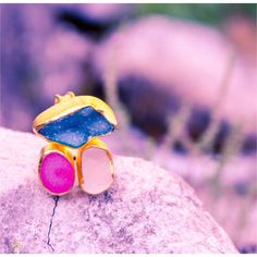 Three stone multicolor druzy agate ring druzy by KastoniJewels