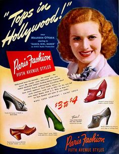 Maureen O'Hara for Paris Fashion Shoes, October 1940 | by The Bees Knees Daily