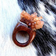 Black Walnut & Aragonite Crystal Ring by GlassTower on Etsy