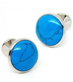 Blue Cracked Gemstone Silver Round Cufflinks
