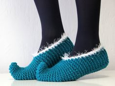 Super cute!! I could probably fit the kids size 7-Cute elf slippers for children lovely turquoise by balticfrog