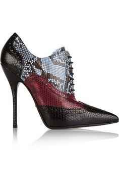 Gucci|Color-block python ankle boots|NET-A-PORTER.COM