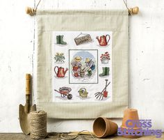 #AllOurYesterdays - sweet garden sampler. Cross stitch an adorable springtime #sampler, exclusively created for The World of Cross Stitching magazine by award-winning artist #FayeWhittaker. Look for her pattern in issue, 226.
