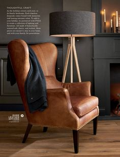 Wingback Chair: Pretty And Beneficial Clinton Modern Wingback Leather Chair with Nailheads:separator: Leather Wingback Chair, Brown Leather Chairs, Swivel Chair, Saddle Leather, Leather Accent Chairs, Leather Sofa, Chair Cushions, Living Room Kitchen, Living Room Chairs